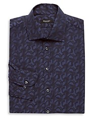 Sand Cotton Printed Dress Shirt Navy