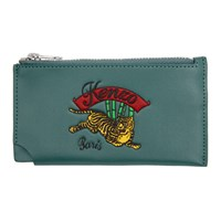 Kenzo Blue Zipped Jumping Tiger Card Holder