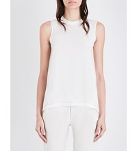 Brunello Cucinelli Sleeveless Stretch Silk Top Vanilla