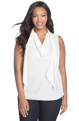 Plus Size Women's Ellen Tracy Drape Scarf Neck Shell Alabaster
