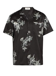 Commas Floral Print Short Sleeved Silk Blend Shirt Black Multi