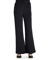 Caroline Rose Silk Crepe Wide Leg Pants Black Petite