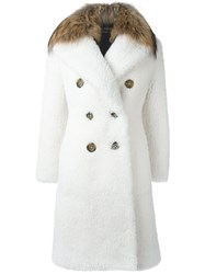 Burberry Runway Raccoon Fur Collar Double Breasted Coat White