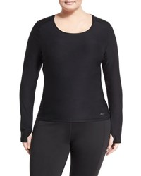 X By Gottex Plus Zip Pocket Long Sleeve Active Tee Black