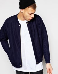 Asos Quilted Jersey Bomber Jacket In Navy White