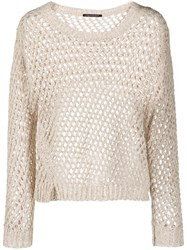 Luisa Cerano Perforated Knitted Jumper Neutrals