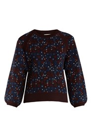 Chloe Floral Jacquard Sweater Navy Print