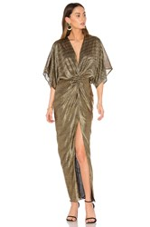 Shona Joy Twist Kimono Maxi Dress Metallic Gold