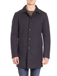 Saks Fifth Avenue Reversible Quilted Wool Blend Coat Navy