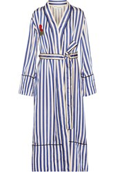 Off White Embroidered Striped Satin Coat Blue