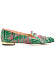 Charlotte Olympia Flamingo Slippers Leather Canvas Green