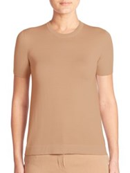 Akris Short Sleeve Cashmere Knit Pullover Camel