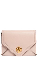 Tory Burch Kira Leather Envelope Clutch Beige Light Oak