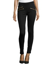 Romeo And Juliet Couture Zipper Ponte Leggings Black