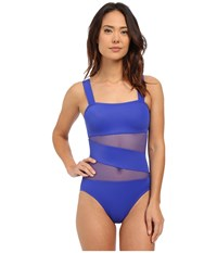 Dkny Mesh Effect Mesh Splice Maillot W Removable Soft Cups Electric Women's Swimsuits One Piece Blue
