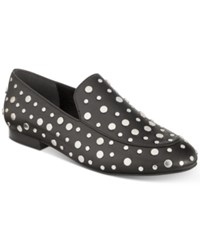 Kenneth Cole New York Westley Studded Smoking Flats Women's Shoes Black Silver