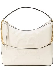 Gucci Embossed Gg Hobo Bag Leather White