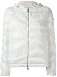 Moncler Curved Panel Hooded Jacket White