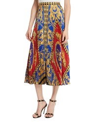 Versace Pillow Talk Archive Print Pleated Midi Skirt Red