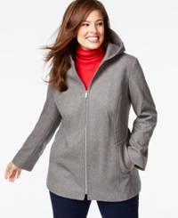 London Fog Plus Size Hooded Zipper Front Coat Medium Grey