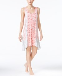 Ellen Tracy Mixed Print High Low Nightgown Ivory Coral Paisley