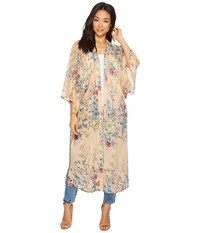 Steve Madden Linear Floral Duster Kimono Blush Clothing Pink
