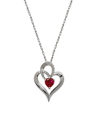 Lord And Taylor Garnet Diamond And Sterling Silver Heart Pendant Necklace Red