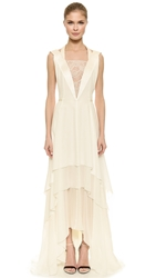 Nina Ricci Lace Inset Gown Natural