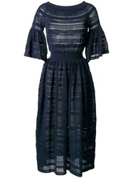 Antonino Valenti Perforated Detail Flared Dress Blue