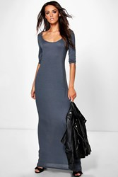 Boohoo 3 4 Sleeve Scoop Neck Maxi Dress Grey Marl