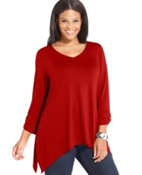 Ny Collection Plus Size Roll Tab Sleeve Handkerchief Hem Top True Red