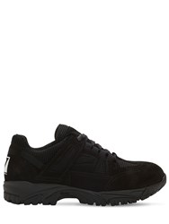 Maison Martin Margiela Trekking Suede And Mesh Sneakers Black