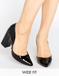 New Look Wide Fit Block Heeled Court Shoes Black
