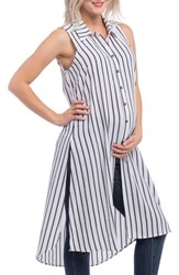 Lilac Clothing Print Maternity Tunic White Black Stripe