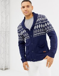 Blend Of America Shawl Neck Cardigan With Fairisle Design In Blue