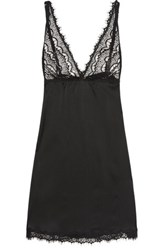 Mimi Holliday By Damaris Lace Trimmed Silk Satin Chemise Black