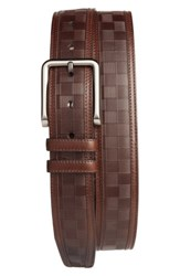 Mezlan Men's Check Leather Belt Cognac