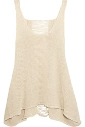 Stella Mccartney Distressed Open Knit Linen Tank Beige