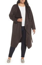 Halogen Plus Size Faux Suede Front Drape Trench Coat Coffee