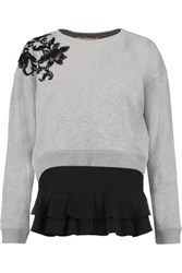 Derek Lam 10 Crosby By Lace Paneled Cotton Jersey Sweatshirt And Silk Crepe Top Set Gray