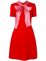 Gucci Pussy Bow Dress Women Silk Acetate Wool 48 Red