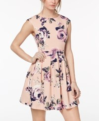 Emerald Sundae Juniors' Cutout Back Fit And Flare Dress Blush Multi