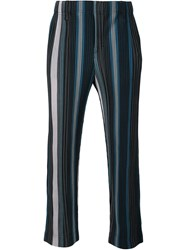 Issey Miyake Striped Trousers Blue