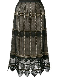 Kobi Halperin Beaded Lace Skirt Black