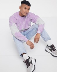 Liquor N Poker Sweatshirt With Tie Dye Stripe In Lilac Purple