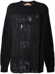 N 21 No21 Lace Inset Cable Knit Jumper Black