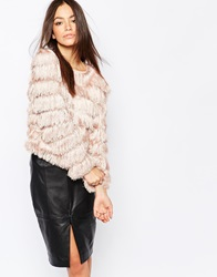 Goldie Falling Down Allover Fringe Jumper Nude