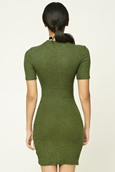 Forever 21 High Neck Bodycon Dress Olive