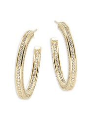 Freida Rothman Classic Radiance Cubic Zirconia And 14K Gold Plated Sterling Silver Hoop Earrings 1.5In