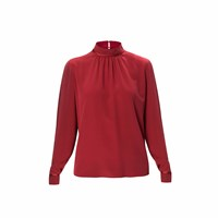 Wtr London Mayfair High Neck Long Sleeve Blouse Burgundy Red